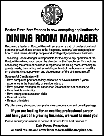 Dining Room Manager Boston Pizza